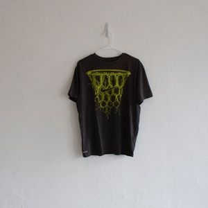 Men's Grey and Yellow Nike T-Shirt Large